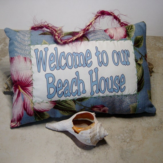 Welcome To Our Beach House Sign: Tropical Door Knob SignWelcome To Our Beach House