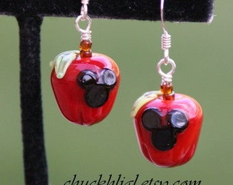 BACK 2 SCHOOL SALE Apples for Back to School Accessories Disney Inspired Mickey Minnie Style Mouse Sra Lampwork DeSIGNeR Earrings Disneyland