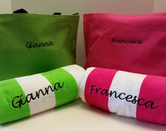 Striped Tote and Towel Set Made to Order - Monogram gifts personalized for Bridesmaids, Graduation, Mother's Day, Birthday or Just Because