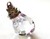 CRYSTAL 12X20MM VELVET Czech Wire Wrapped Pendant