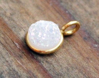 White Sparkaly Druzy and Gold Plate Pendant