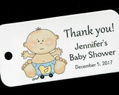 Baby Shower Favor Tags - Personalized Tag - Baby Boy - Gift Tags - Personalized Favor Tags - Thank You Tag - Baby Boy With Ducky Toy