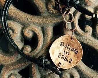 Believe in 398.2 I believe in fairy tales Dewey decimal bracelet copper and leather