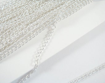 25ft Silver Plated Curb Chain Plated Iron 3.7x2.5mm Not Soldered - 25 feet - STR9047CH-S25
