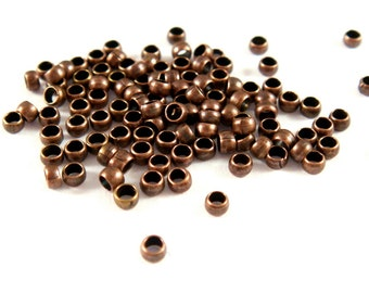 200 Crimp Beads Antique Copper Barrel Brass NF 1.5mm - 3 grams - F4022CB-AC2mm200