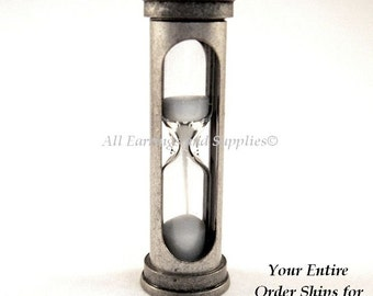 Hour Glass Focal Pendant Antique Silver 47x14mm Brass Sand - 1 pc - MS11043-HGAS1