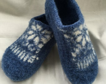 Fair Isle Wool Slippers, wool slippers, felted wool slippers, fulled wool, wool shoes, free shipping, womens slippers