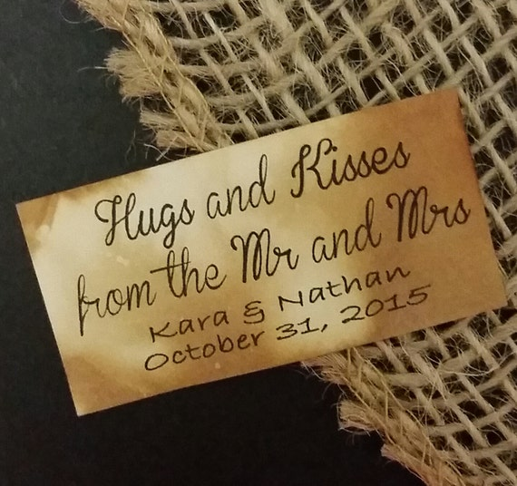 Hugs and Kisses from the new Mr and Mrs Personalized Wedding Shower Favor 1 x 2 STICKER choose your amount