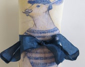 French Lavender Silk Sachet with French Rabbit Graphic