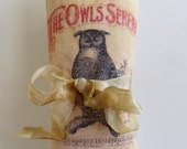 Silk Lavender Sachet with Vintage Owl & Text Graphic