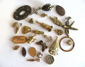 Brass Charm Assortment, 27 Piece Charm Lot