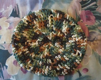 Warm Hand Crocheted Camo Beret Hat Cap Gift Present Christmas Birthday Mothers Day Valentines Day Women Teen Tween Ready to Ship