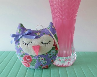 Lavender Sachet Owl, Pretty Purple Linen Floral Owl Decoration, Sweet Owl Sachet, Scented Gift