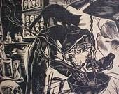 "Rare Rudolf Warnecke ""HexenKuche"" Signed Halloween Woodblock Print"