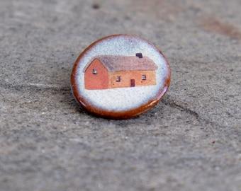 Small Ochre House Ceramic Brooch