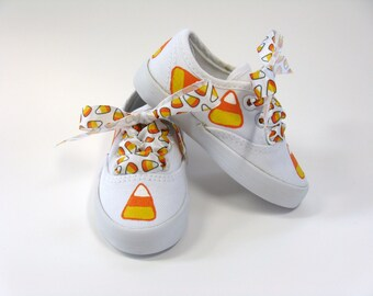 Candy Corn Shoes, Halloween Party Outfit, Fall or Autumn Hand Painted White Canvas Sneakers for Baby or Toddlers