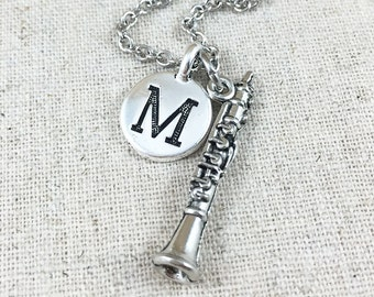 Personalized Clarinet Charm Necklace, Personalized Initial Jewelry, Clarinet Charm Necklace, Band Jewelry, Personalized Gift