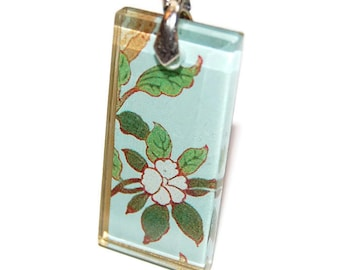 Glass Pendant: Leafy White Blossom on Light Blue  Glass Tile Pendant - Hand Drilled with Silver Bail - Black Ribbon Necklace