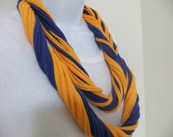 Royal Blue and Gold Multi Strand Scarf Necklace/Sorority Colors/African Colors/Team Colors