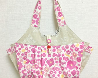 Fabric Shoulder Bag / Fabric Granny Bag / Cat Print bag --- Cats in the Pink Flowers