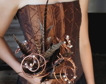 Copper Bridal Arrangement: Feathers, Pearls and Crystals