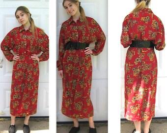 vintage dress . 2 piece dress . skirt and blouse . retro print dress . renaissance print dress