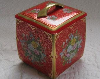 roses tin . red roses tin . roses tea tin . red tin with handle . german the tin