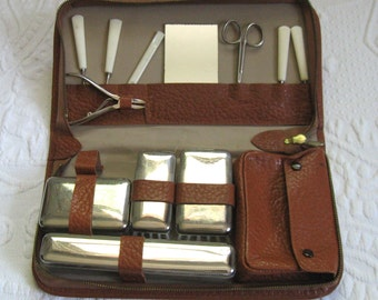 grooming kit . travel kit . retro travel kit . retro shaving kit . leather travel kit . 11 piece kit . german travel kit