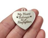 "Firefighter ""My heart belongs to a firefighter"" Charm Stainless Steel, ""Laser Design"" 34x35x1mm Hole 2.5mm"