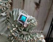 Turquoise Pyramid Ring with Moonstone in Sterling Silver