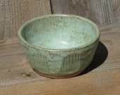 Pottery Small  Bowl, Decorative Carving, Green & Brown on Speckled Clay