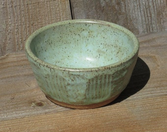 Pottery Small  Bowl, Decorative Carving, Blue / Green & Brown on Speckled Clay