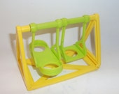Vintage Fisher Price Swing Swingset Little People Yellow and Green School #997
