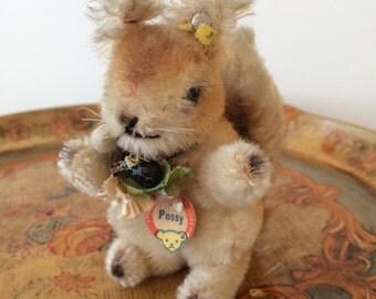 Steiff Vintage Original Possy Squirrel Button Tag Bell Flag