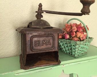 Coffee Grinder Antique Tin Working Elma Wooden Handle