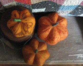 pumpkins, fabric pumpkins, Fall, Autumn decor, wedding centerpiece - fun and formal - set of 3 p U m P k I nS with 1 set of bling - 105