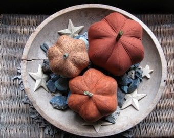 fabric pumpkins, pumpkins, Fall, Autumn decor, wedding centerpiece - dark and warm - set of 3 p U m P k I nS with 1 set of bling -107