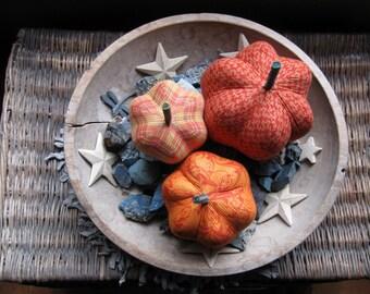 fabric pumpkins, pumpkins, Fall, Autumn decor, wedding centerpiece - fun and formal - set of 3 p U m P k I nS with 1 set of bling -108