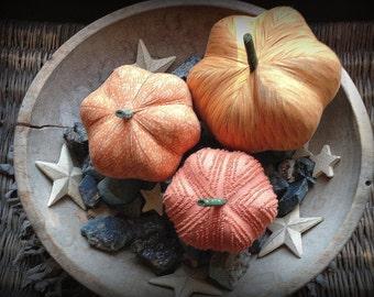 pumpkins, fabric pumpkins, Fall wedding decor,nursery decor, centerpiece - set of 3 p U m P k I nS with 1 set of bling - 113