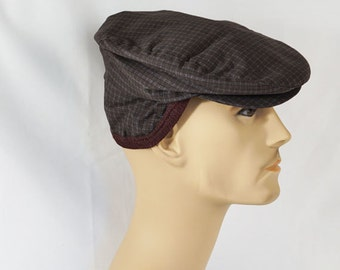 Vintage 1950s Mans Plaid Flat Cap with Ear Flaps Sz 6 7/8 NOS