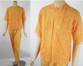 SALE Vintage Butterscotch Lace Pajamas by Vanity Fair Sz 32