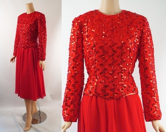 Vintage 1980s Party Dress Red Sequin Cocktail B38