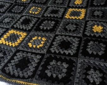 Grey Black Mustard Granny Square Crochet Throw Blanket