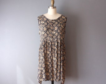 vintage 90s mini dress / gauzy floral dress / empire waist dress / grunge dress
