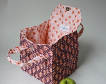 Lunch Bag Diamonds and Flowers - Insulated Lunch - Bento Box Carrier with Magnetic Snap - Ready to Ship