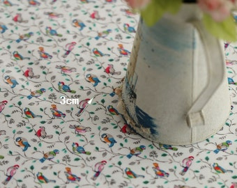4120 - Cath Kidston Little Birds (Offwhite) Oilcloth Waterproof Fabric - 28 Inch (Width) x 17 Inch (Length)