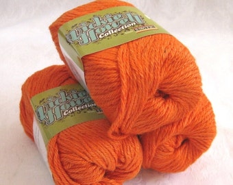 50% off - Bright Pumpkin orange Wool Soysilk Hemp blend yarn,  worsted weight, SWTC ROCK yarn Billy