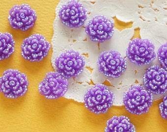 4 pcs  Bling Rose Cabochon (15mm)  AB Purple FL419 (((LAST)))