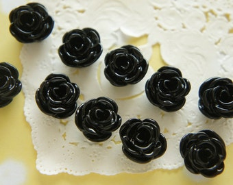 SALE 10 pcs  Glossy Rose Cabochon (13mm) Black FL030