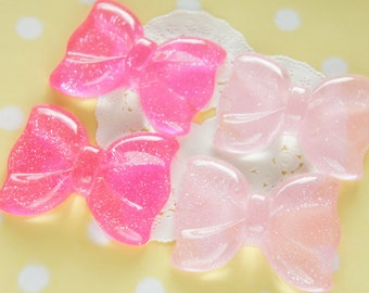 4 pcs Big Glitter Shinny Bow Cabochon (42mm55mm)  Hot Pink/Light Pink BW204